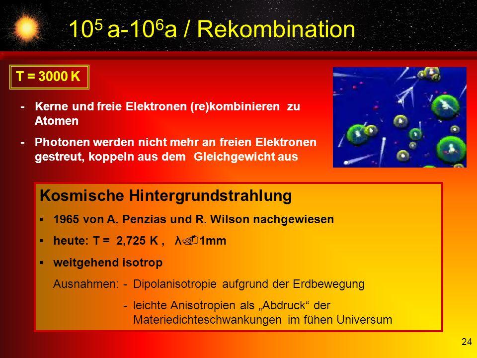 24 10 5 a-10 6 a / Rekombination T = 3000 K -Kerne und freie Elektronen (re)kombinieren zu Atomen -Photonen werden nicht mehr an freien Elektronen ges