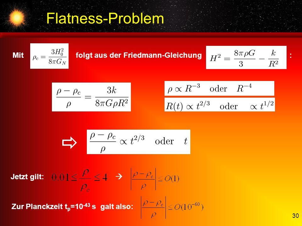 30 Flatness-Problem Mit folgt aus der Friedmann-Gleichung : Jetzt gilt: Zur Planckzeit t p =10 -43 s galt also: