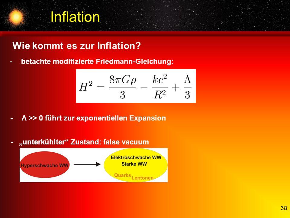 38 Inflation -betachte modifizierte Friedmann-Gleichung: -Λ >> 0 führt zur exponentiellen Expansion -unterkühlter Zustand: false vacuum Wie kommt es z