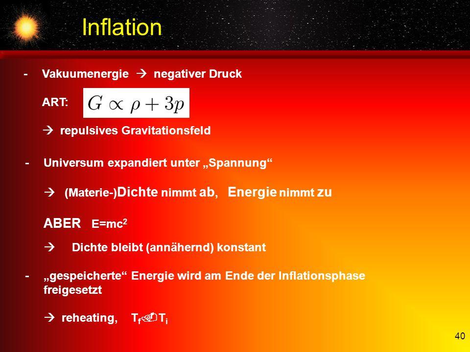 40 Inflation -Vakuumenergie negativer Druck ART: repulsives Gravitationsfeld -Universum expandiert unter Spannung (Materie-) Dichte nimmt ab, Energie