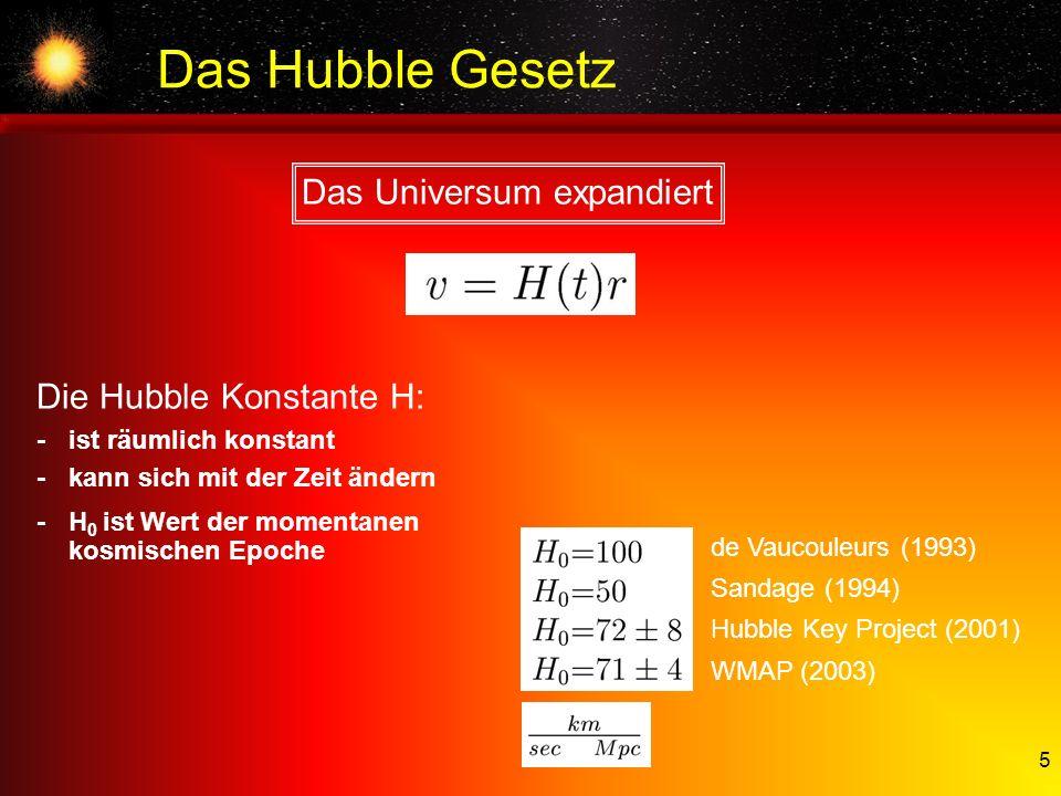 5 Das Hubble Gesetz Das Universum expandiert Die Hubble Konstante H: -ist räumlich konstant -kann sich mit der Zeit ändern -H 0 ist Wert der momentane