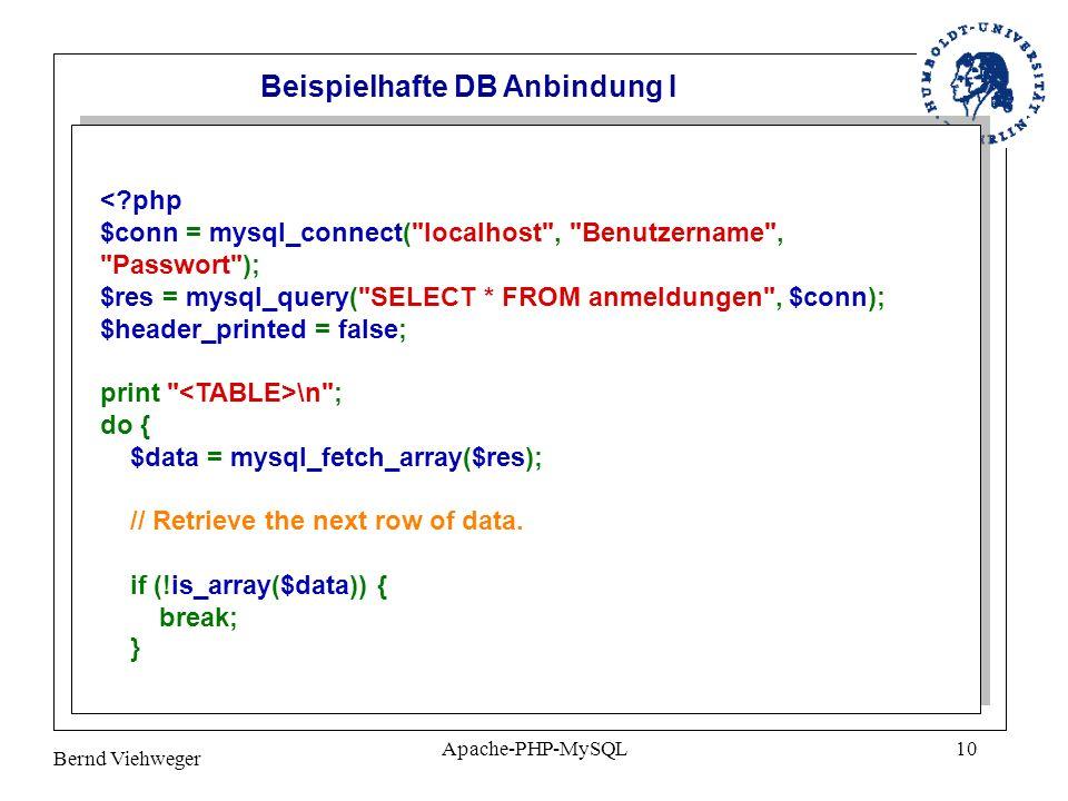 Bernd Viehweger Apache-PHP-MySQL10 \n ; do { $data = mysql_fetch_array($res); // Retrieve the next row of data.
