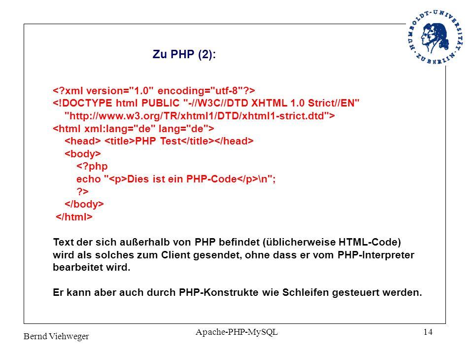 Bernd Viehweger Apache-PHP-MySQL14 Zu PHP (2): PHP Test Dies ist ein PHP-Code \n ; ?> Text der sich außerhalb von PHP befindet (üblicherweise HTML-Code) wird als solches zum Client gesendet, ohne dass er vom PHP-Interpreter bearbeitet wird.