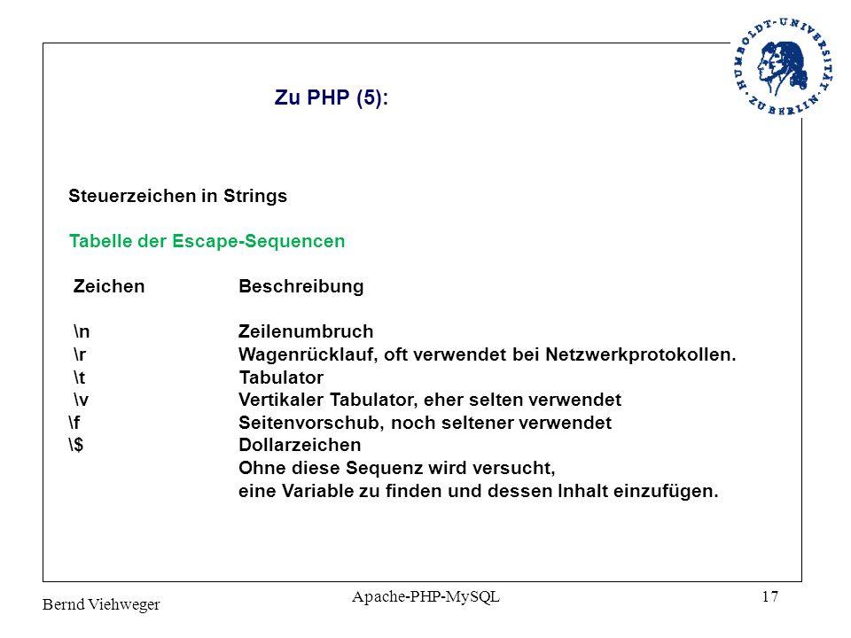 Bernd Viehweger Apache-PHP-MySQL17 Zu PHP (5): Steuerzeichen in Strings Tabelle der Escape-Sequencen Zeichen Beschreibung \n Zeilenumbruch \r Wagenrücklauf, oft verwendet bei Netzwerkprotokollen.