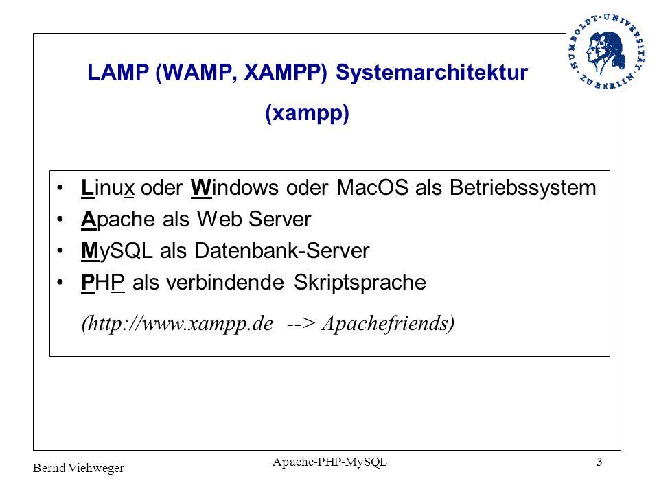 Bernd Viehweger Apache-PHP-MySQL3 LAMP (WAMP, XAMPP) Systemarchitektur (xampp) Linux oder Windows oder MacOS als Betriebssystem Apache als Web Server MySQL als Datenbank-Server PHP als verbindende Skriptsprache (http://www.xampp.de --> Apachefriends)