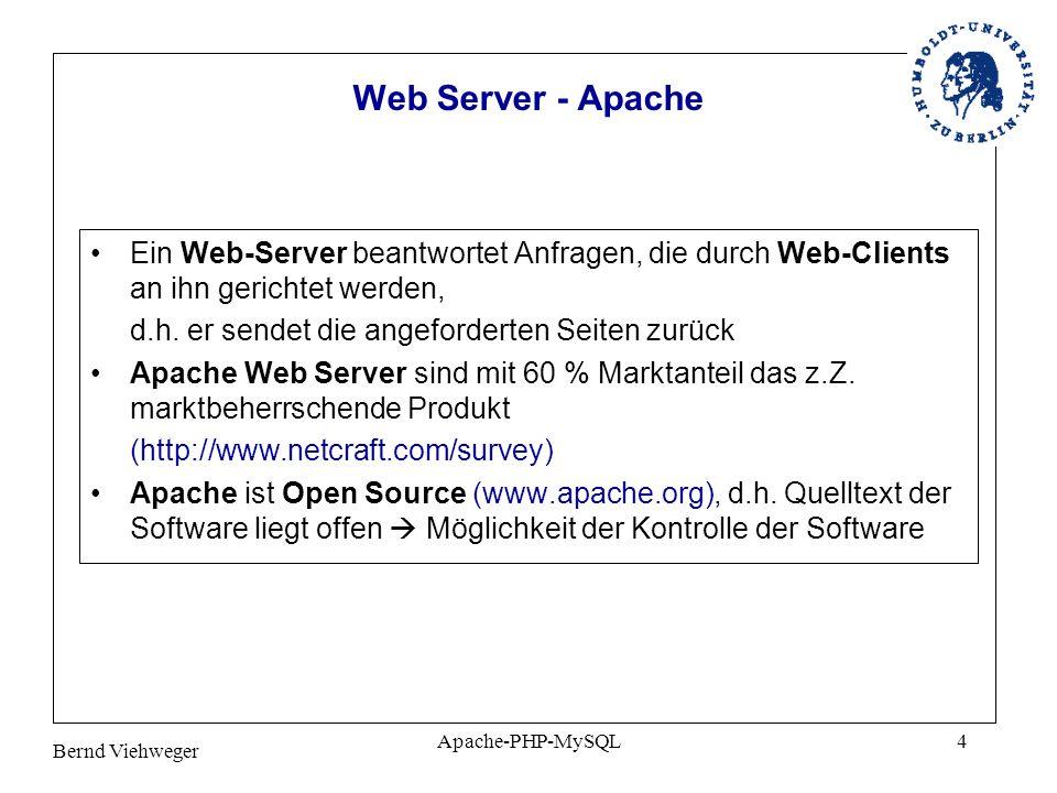 Bernd Viehweger Apache-PHP-MySQL4 Web Server - Apache Ein Web-Server beantwortet Anfragen, die durch Web-Clients an ihn gerichtet werden, d.h.