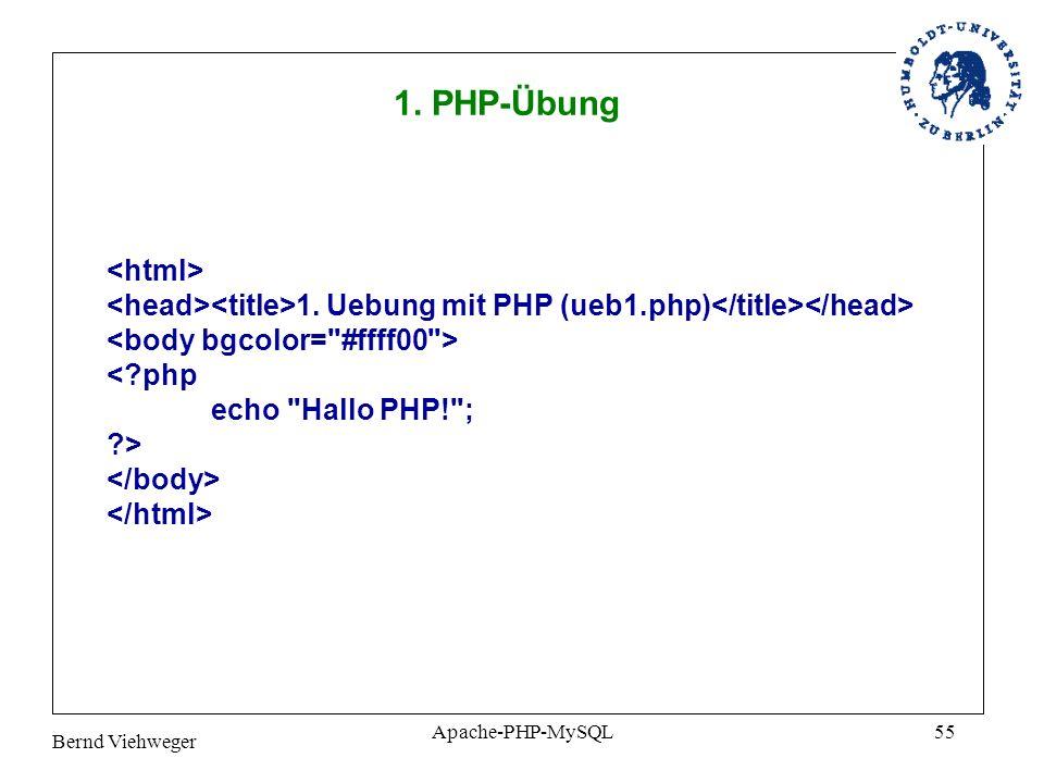 Bernd Viehweger Apache-PHP-MySQL55 1.Uebung mit PHP (ueb1.php) <?php echo Hallo PHP! ; ?> 1.