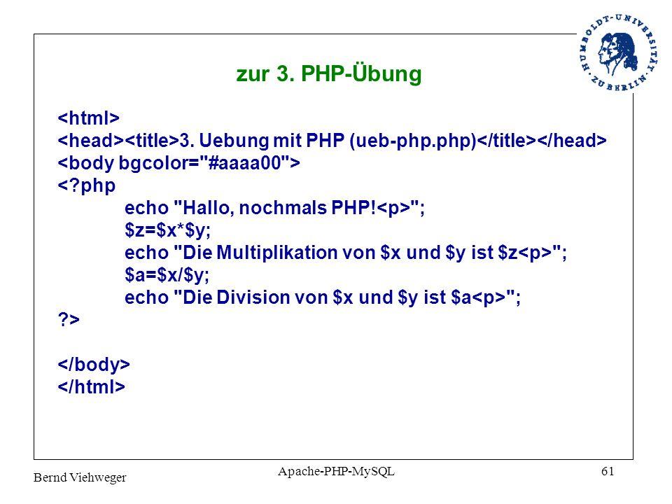 Bernd Viehweger Apache-PHP-MySQL61 3.Uebung mit PHP (ueb-php.php) <?php echo Hallo, nochmals PHP.