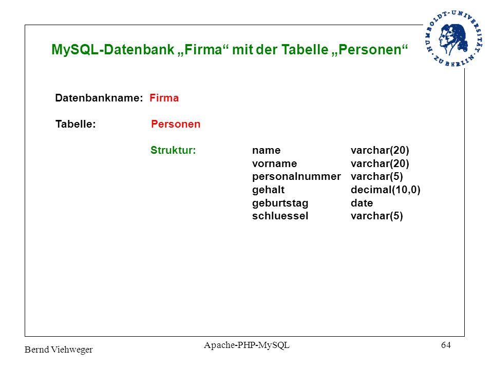 Bernd Viehweger Apache-PHP-MySQL64 MySQL-Datenbank Firma mit der Tabelle Personen Datenbankname: Firma Tabelle: Personen Struktur: namevarchar(20) vornamevarchar(20) personalnummervarchar(5) gehaltdecimal(10,0) geburtstagdate schluesselvarchar(5)