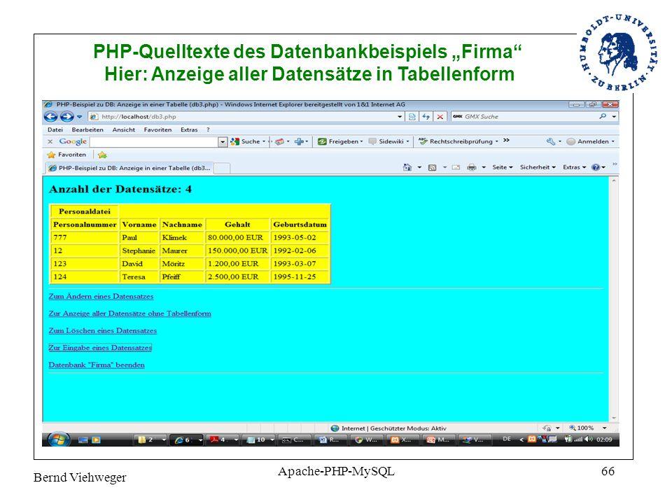 Bernd Viehweger Apache-PHP-MySQL66 PHP-Quelltexte des Datenbankbeispiels Firma Hier: Anzeige aller Datensätze in Tabellenform