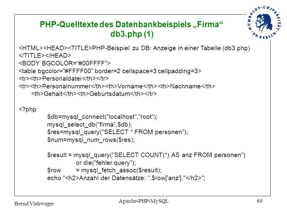 Bernd Viehweger Apache-PHP-MySQL69 PHP-Quelltexte des Datenbankbeispiels Firma db3.php (1) PHP-Beispiel zu DB: Anzeige in einer Tabelle (db3.php) Personaldatei Personalnummer Vorname Nachname Gehalt Geburtsdatum <?php $db=mysql_connect( localhost , root ); mysql_select_db( firma ,$db); $res=mysql_query( SELECT * FROM personen ); $num=mysql_num_rows($res); $result = mysql_query( SELECT COUNT(*) AS anz FROM personen ) or die( fehler query ); $row = mysql_fetch_assoc($result); echo Anzahl der Datensätze: .$row[ anz ]. ;