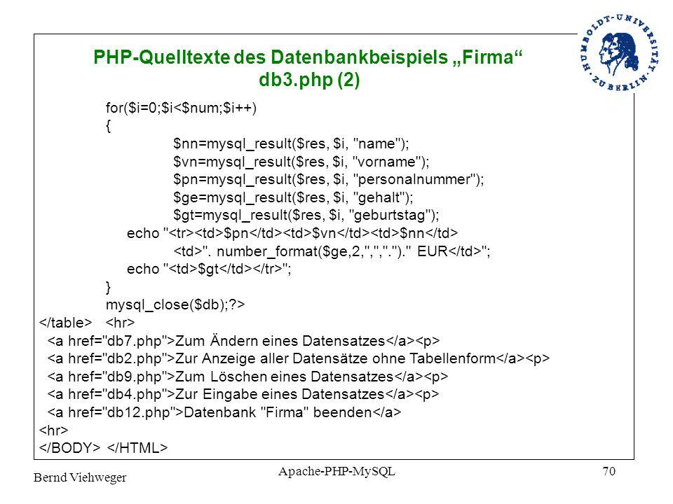 Bernd Viehweger Apache-PHP-MySQL70 PHP-Quelltexte des Datenbankbeispiels Firma db3.php (2) for($i=0;$i<$num;$i++) { $nn=mysql_result($res, $i, name ); $vn=mysql_result($res, $i, vorname ); $pn=mysql_result($res, $i, personalnummer ); $ge=mysql_result($res, $i, gehalt ); $gt=mysql_result($res, $i, geburtstag ); echo $pn $vn $nn .