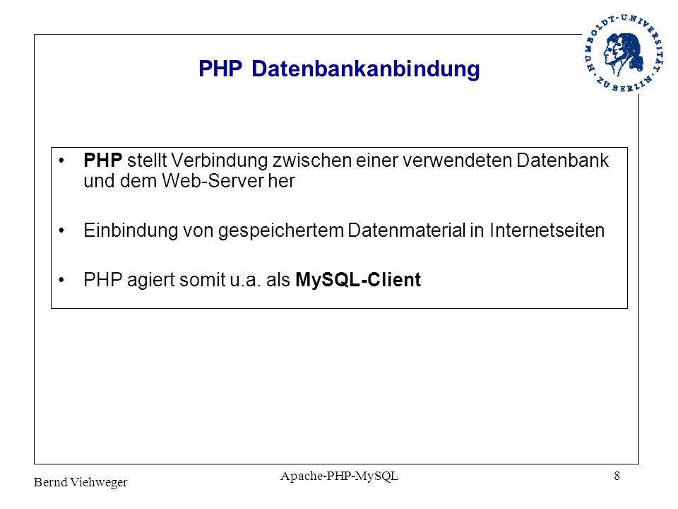 Bernd Viehweger Apache-PHP-MySQL8 PHP Datenbankanbindung PHP stellt Verbindung zwischen einer verwendeten Datenbank und dem Web-Server her Einbindung von gespeichertem Datenmaterial in Internetseiten PHP agiert somit u.a.