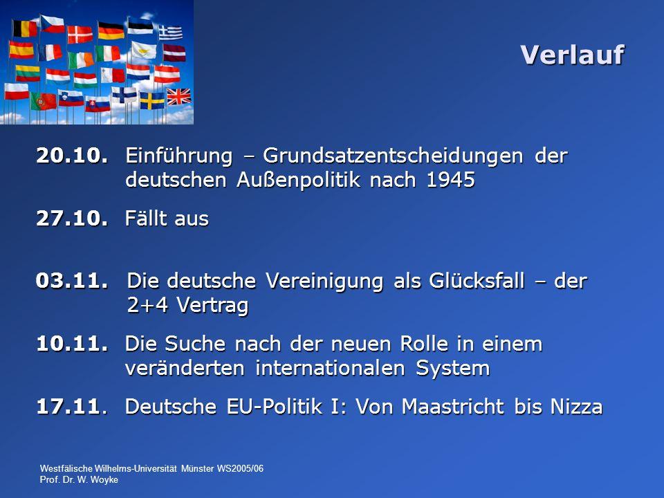 Westfälische Wilhelms-Universität Münster WS2005/06 Prof. Dr. W. Woyke Verlauf 20.10. Einführung – Grundsatzentscheidungen der deutschen Außenpolitik