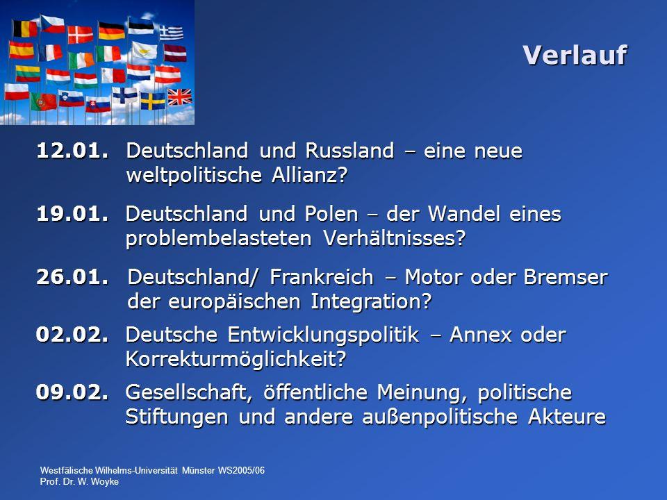 Westfälische Wilhelms-Universität Münster WS2005/06 Prof. Dr. W. Woyke Verlauf 12.01. Deutschland und Russland – eine neue weltpolitische Allianz? 19.