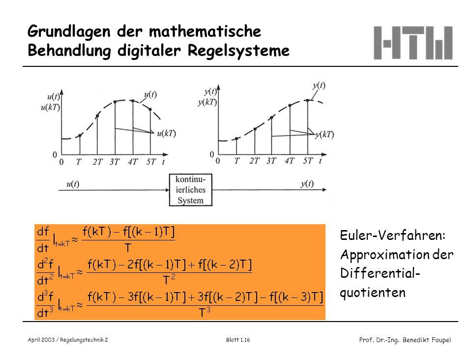 Prof. Dr.-Ing. Benedikt Faupel April 2003 / Regelungstechnik 2 Blatt 1.16 Grundlagen der mathematische Behandlung digitaler Regelsysteme Bild 2.2.1 Un