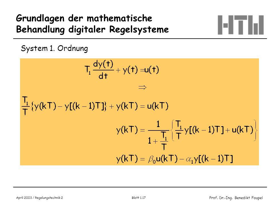 Prof. Dr.-Ing. Benedikt Faupel April 2003 / Regelungstechnik 2 Blatt 1.17 Grundlagen der mathematische Behandlung digitaler Regelsysteme System 1. Ord