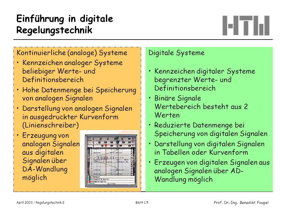Prof. Dr.-Ing. Benedikt Faupel April 2003 / Regelungstechnik 2 Blatt 1.5 Einführung in digitale Regelungstechnik Kontinuierliche (analoge) Systeme Ken