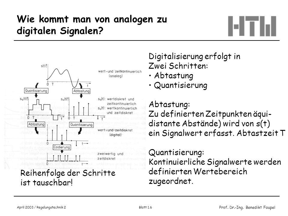 Prof. Dr.-Ing. Benedikt Faupel April 2003 / Regelungstechnik 2 Blatt 1.6 Wie kommt man von analogen zu digitalen Signalen? Digitalisierung erfolgt in