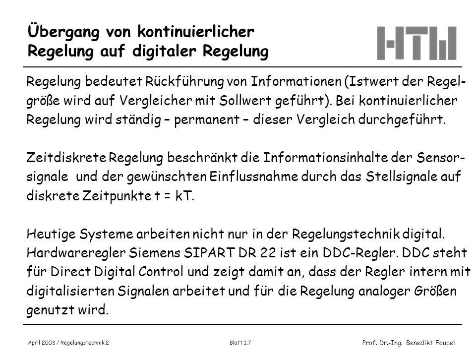 Prof. Dr.-Ing. Benedikt Faupel April 2003 / Regelungstechnik 2 Blatt 1.7 Übergang von kontinuierlicher Regelung auf digitaler Regelung Regelung bedeut