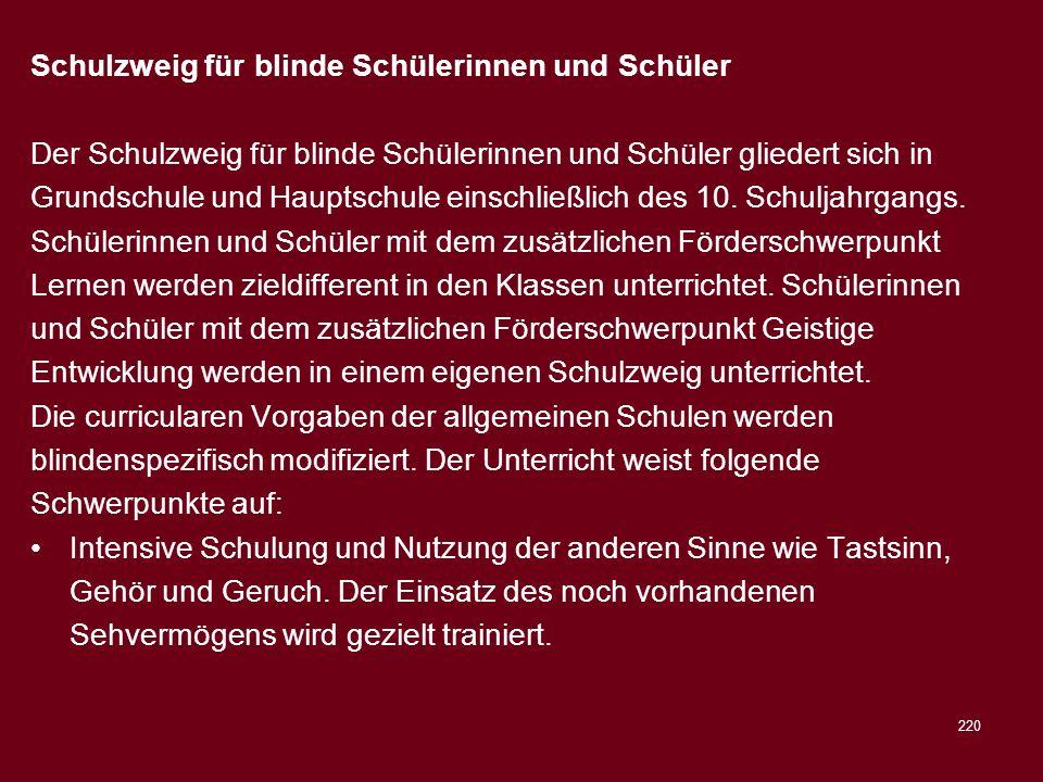 220 Schulzweig für blinde Schülerinnen und Schüler Der Schulzweig für blinde Schülerinnen und Schüler gliedert sich in Grundschule und Hauptschule ein