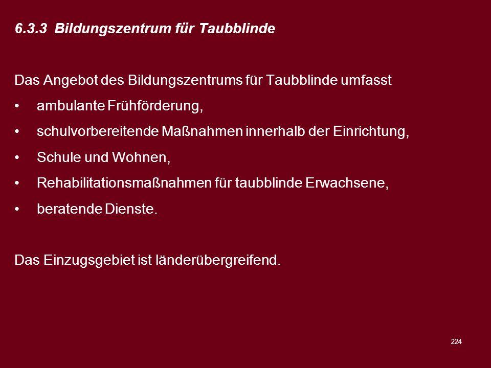 224 6.3.3 Bildungszentrum für Taubblinde Das Angebot des Bildungszentrums für Taubblinde umfasst ambulante Frühförderung, schulvorbereitende Maßnahmen