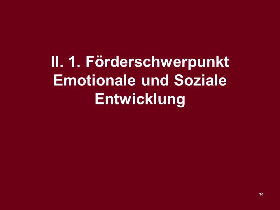 79 II. 1. Förderschwerpunkt Emotionale und Soziale Entwicklung