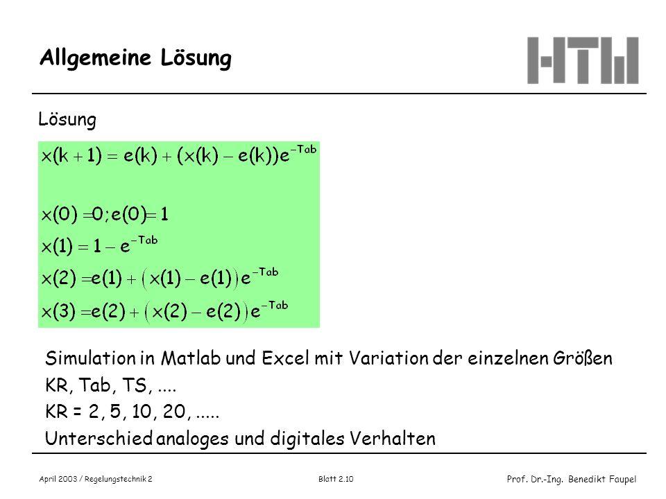 Prof. Dr.-Ing. Benedikt Faupel April 2003 / Regelungstechnik 2 Blatt 2.10 Allgemeine Lösung Lösung Simulation in Matlab und Excel mit Variation der ei