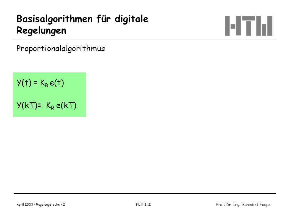Prof. Dr.-Ing. Benedikt Faupel April 2003 / Regelungstechnik 2 Blatt 2.12 Basisalgorithmen für digitale Regelungen Proportionalalgorithmus Y(t) = K R