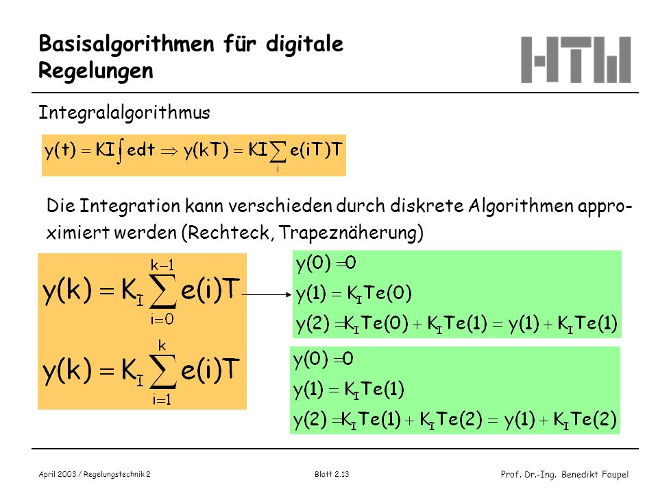 Prof. Dr.-Ing. Benedikt Faupel April 2003 / Regelungstechnik 2 Blatt 2.13 Basisalgorithmen für digitale Regelungen Integralalgorithmus Die Integration