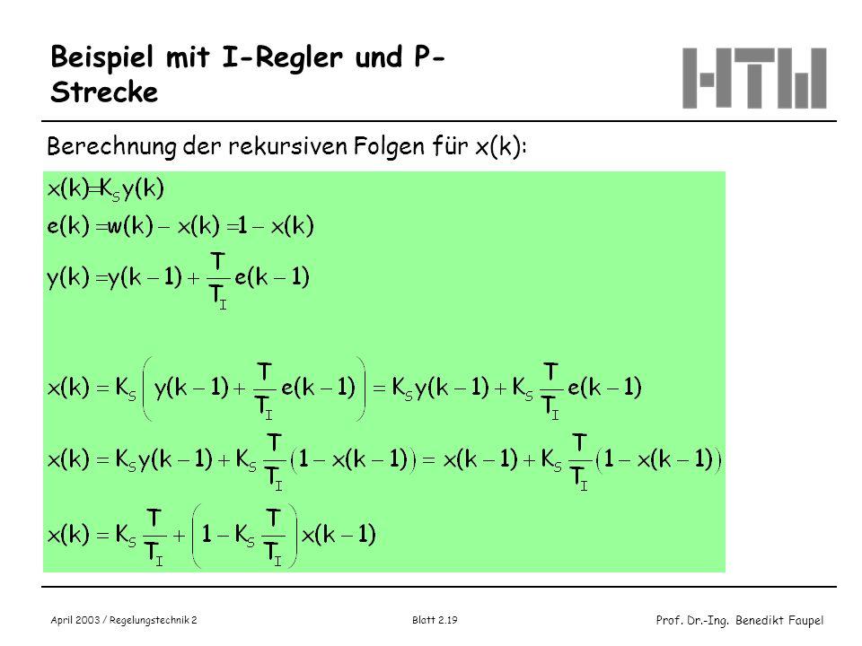 Prof. Dr.-Ing. Benedikt Faupel April 2003 / Regelungstechnik 2 Blatt 2.19 Beispiel mit I-Regler und P- Strecke Berechnung der rekursiven Folgen für x(