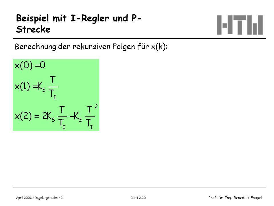 Prof. Dr.-Ing. Benedikt Faupel April 2003 / Regelungstechnik 2 Blatt 2.20 Beispiel mit I-Regler und P- Strecke Berechnung der rekursiven Folgen für x(