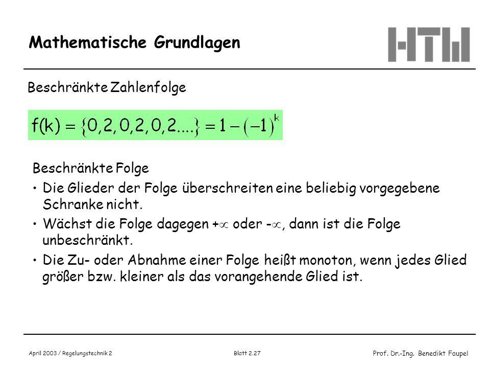 Prof. Dr.-Ing. Benedikt Faupel April 2003 / Regelungstechnik 2 Blatt 2.27 Mathematische Grundlagen Beschränkte Zahlenfolge Beschränkte Folge Die Glied
