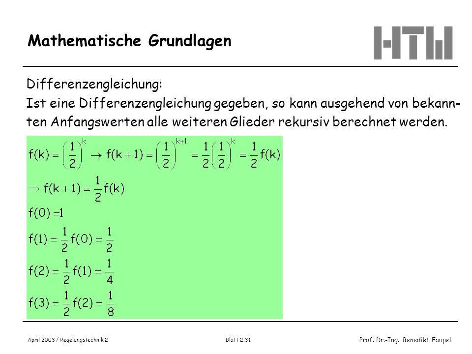 Prof. Dr.-Ing. Benedikt Faupel April 2003 / Regelungstechnik 2 Blatt 2.31 Mathematische Grundlagen Differenzengleichung: Ist eine Differenzengleichung