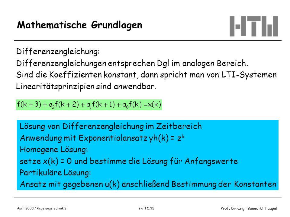 Prof. Dr.-Ing. Benedikt Faupel April 2003 / Regelungstechnik 2 Blatt 2.32 Mathematische Grundlagen Differenzengleichung: Differenzengleichungen entspr