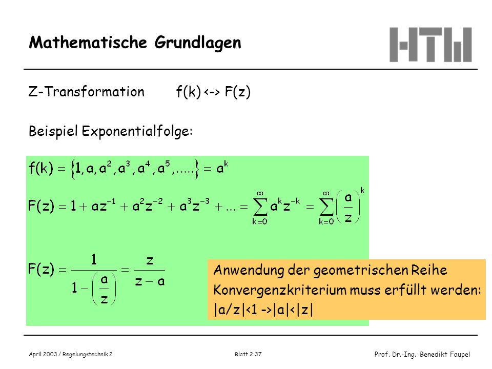 Prof. Dr.-Ing. Benedikt Faupel April 2003 / Regelungstechnik 2 Blatt 2.37 Mathematische Grundlagen Z-Transformationf(k) F(z) Beispiel Exponentialfolge