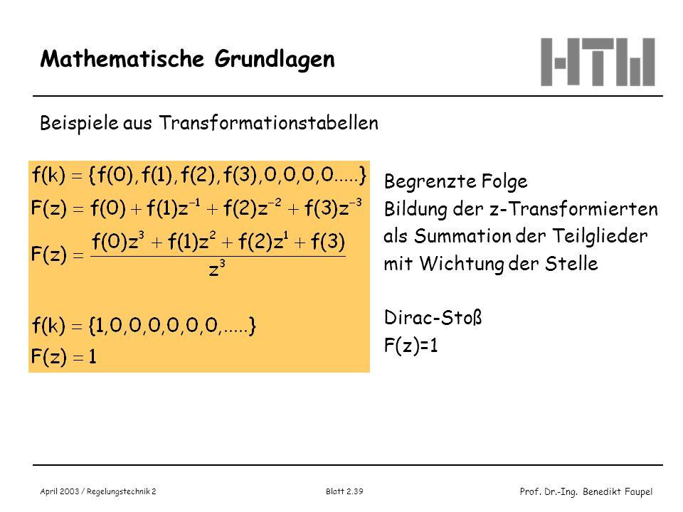 Prof. Dr.-Ing. Benedikt Faupel April 2003 / Regelungstechnik 2 Blatt 2.39 Mathematische Grundlagen Beispiele aus Transformationstabellen Begrenzte Fol