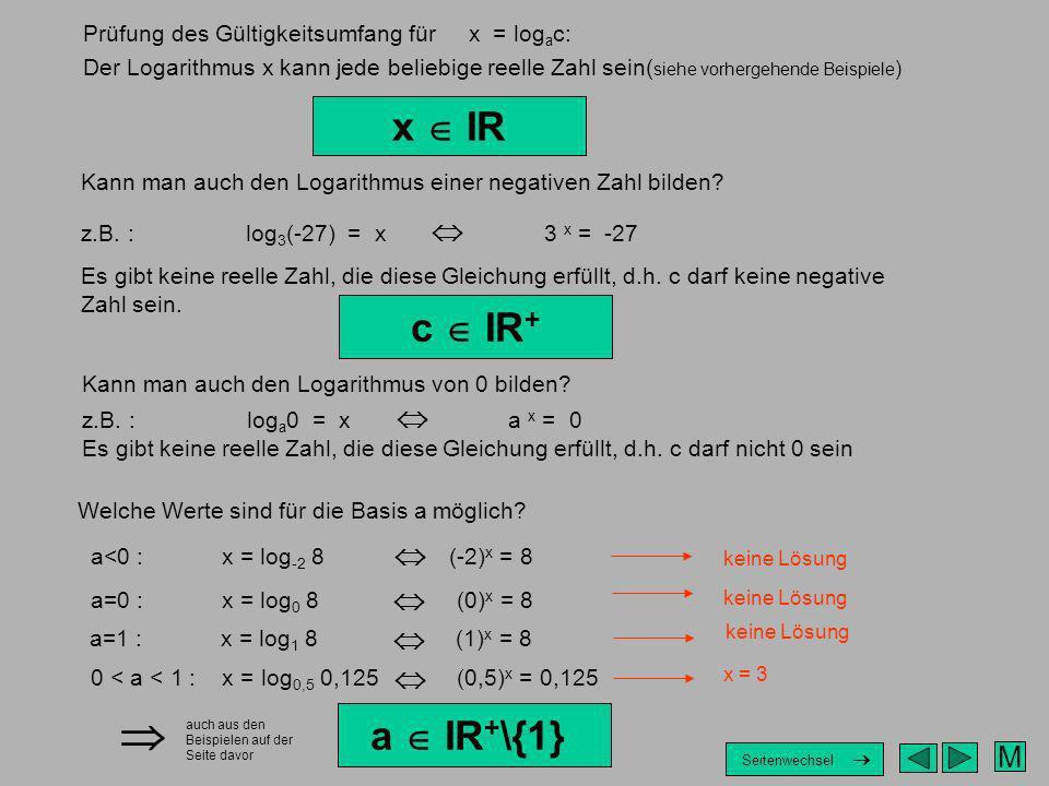 M Prüfung des Gültigkeitsumfang für x = log a c: Der Logarithmus x kann jede beliebige reelle Zahl sein( siehe vorhergehende Beispiele ) x IR Kann man