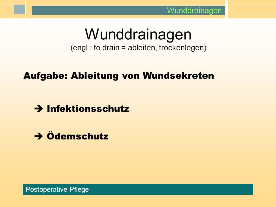Wunddrainagen Postoperative Pflege Wunddrainagen (engl.: to drain = ableiten, trockenlegen) Aufgabe: Ableitung von Wundsekreten Infektionsschutz Ödems