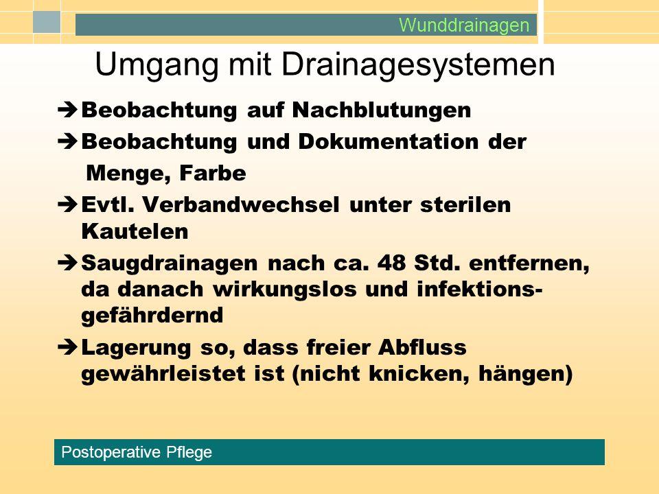 Wunddrainagen Postoperative Pflege Umgang mit Drainagesystemen Beobachtung auf Nachblutungen Beobachtung und Dokumentation der Menge, Farbe Evtl. Verb