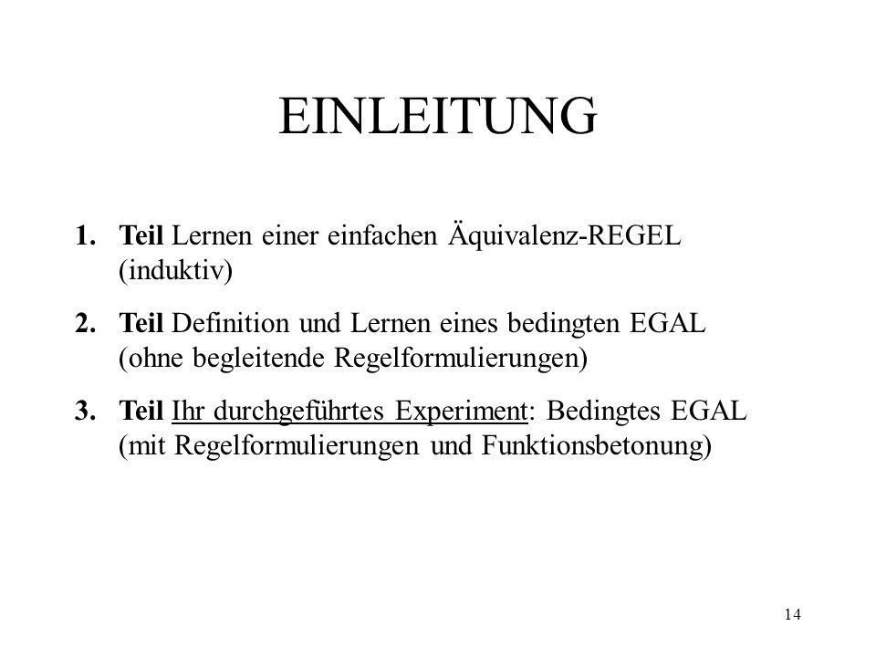 14 EINLEITUNG 1.Teil Lernen einer einfachen Äquivalenz-REGEL (induktiv) 2.Teil Definition und Lernen eines bedingten EGAL (ohne begleitende Regelformu