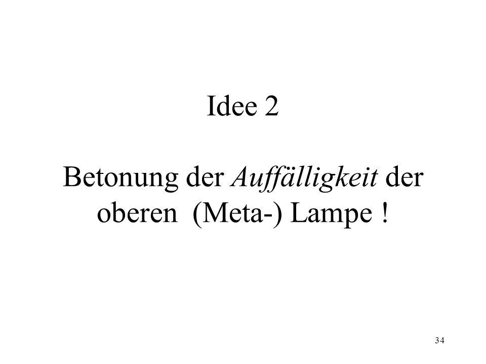 34 Idee 2 Betonung der Auffälligkeit der oberen (Meta-) Lampe !