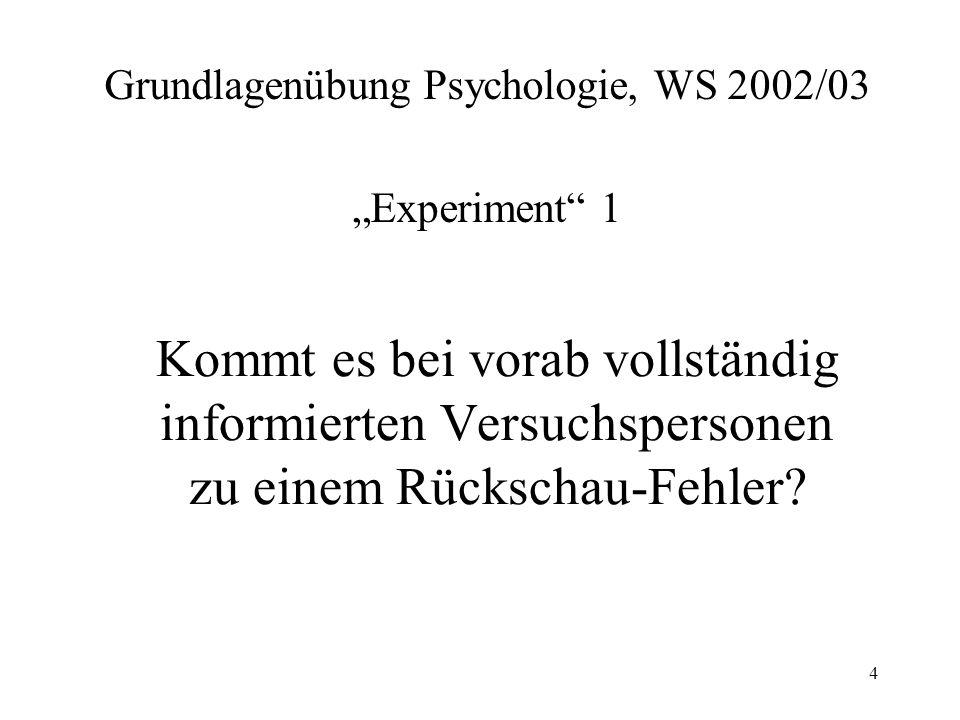4 Kommt es bei vorab vollständig informierten Versuchspersonen zu einem Rückschau-Fehler? Grundlagenübung Psychologie, WS 2002/03 Experiment 1