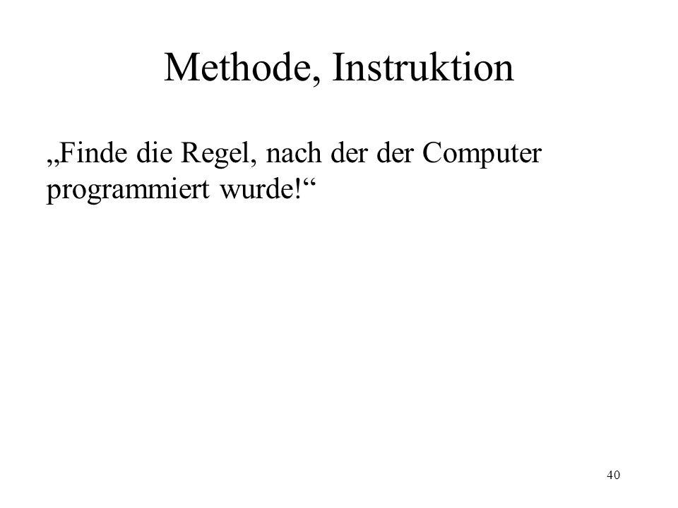 40 Methode, Instruktion Finde die Regel, nach der der Computer programmiert wurde!