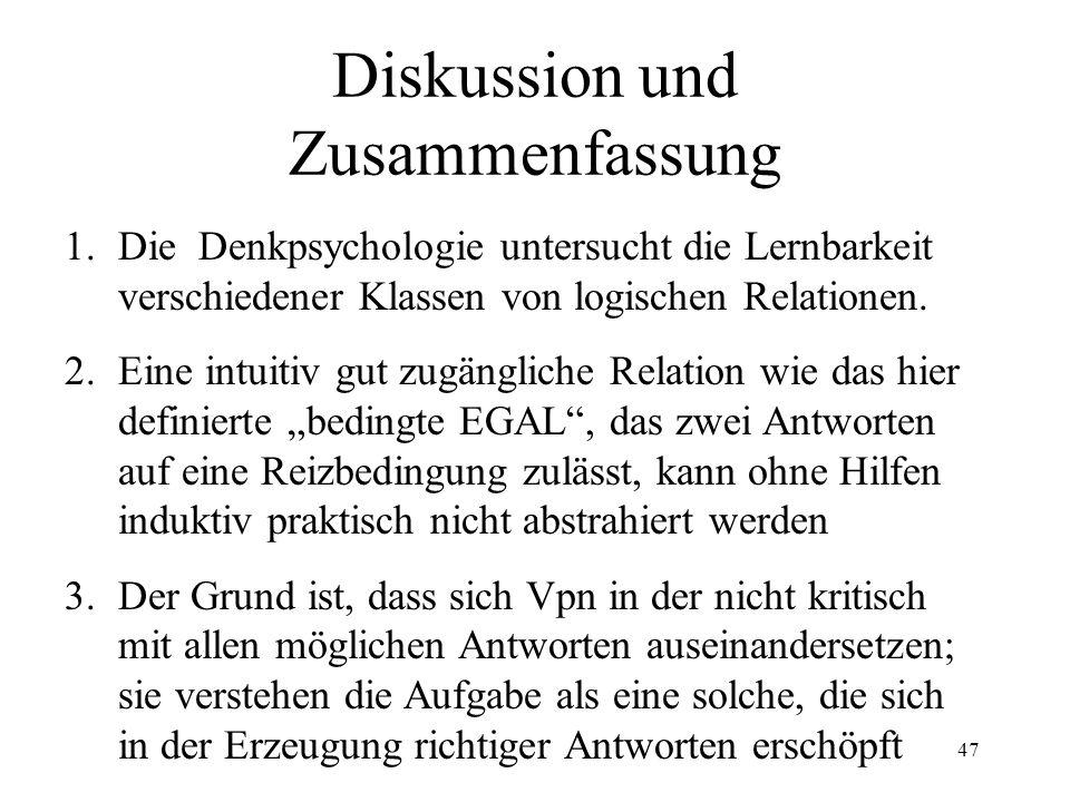 47 Diskussion und Zusammenfassung 1.Die Denkpsychologie untersucht die Lernbarkeit verschiedener Klassen von logischen Relationen. 2.Eine intuitiv gut