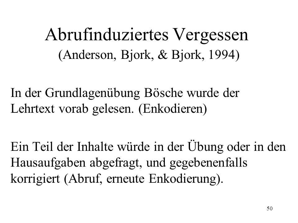 50 Abrufinduziertes Vergessen (Anderson, Bjork, & Bjork, 1994) In der Grundlagenübung Bösche wurde der Lehrtext vorab gelesen. (Enkodieren) Ein Teil d