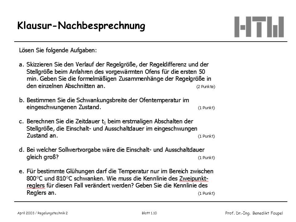 Prof. Dr.-Ing. Benedikt Faupel April 2003 / Regelungstechnik 2 Blatt 1.10 Klausur-Nachbesprechnung
