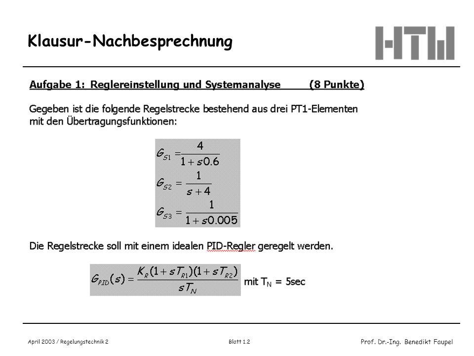 Prof. Dr.-Ing. Benedikt Faupel April 2003 / Regelungstechnik 2 Blatt 1.3 Klausur-Nachbesprechnung