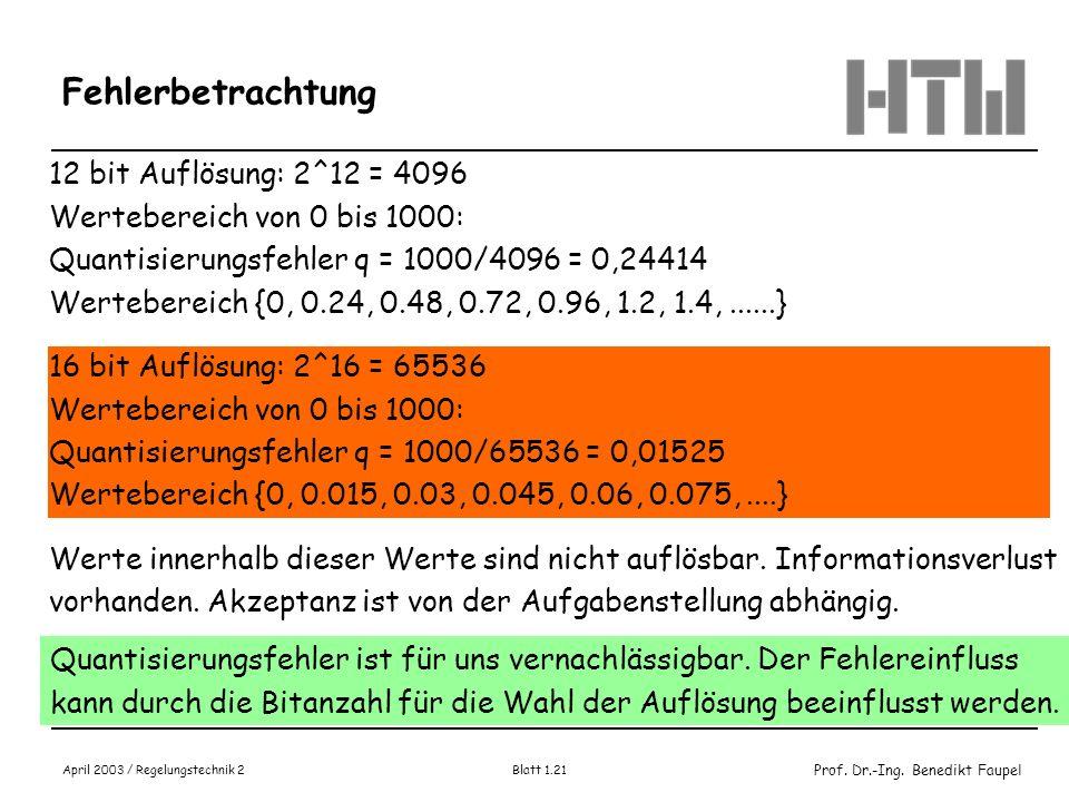 Prof. Dr.-Ing. Benedikt Faupel April 2003 / Regelungstechnik 2 Blatt 1.21 Fehlerbetrachtung 12 bit Auflösung: 2^12 = 4096 Wertebereich von 0 bis 1000: