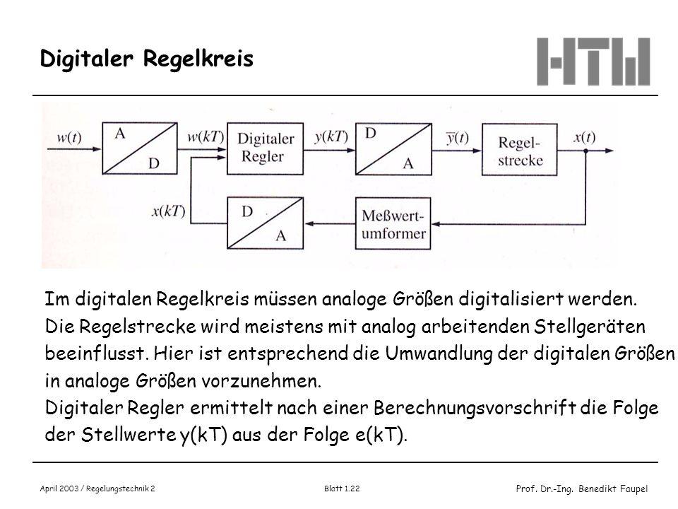 Prof. Dr.-Ing. Benedikt Faupel April 2003 / Regelungstechnik 2 Blatt 1.22 Digitaler Regelkreis Im digitalen Regelkreis müssen analoge Größen digitalis